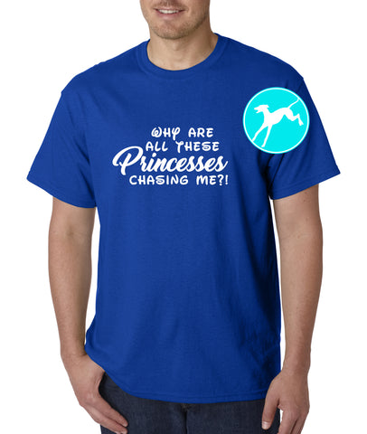 Princesses chasing me Blue T-Shirt