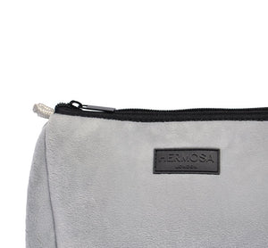 Personalise | Soft Grey Velvet Make Up Bag