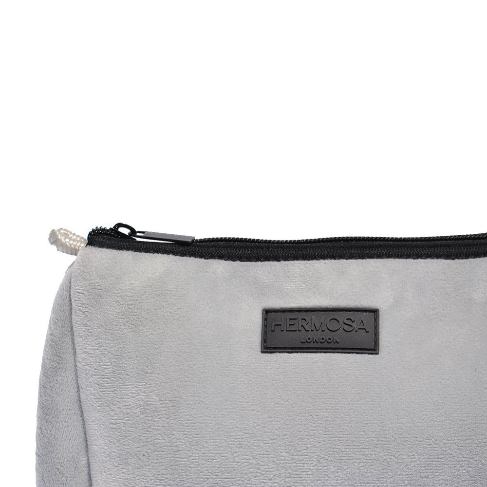 Soft Grey Velvet Wash Bag