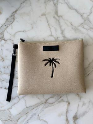 Shadow Palm Linen Pouch