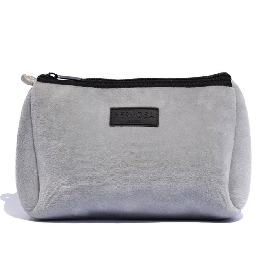 Soft Grey Velvet Make Up Bag
