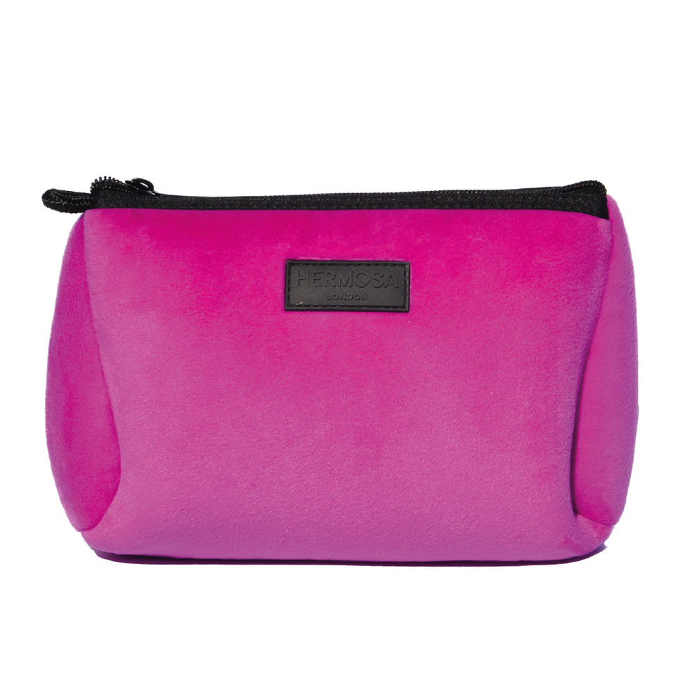 Hot Pink Velvet Make Up Bag