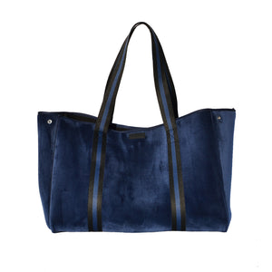 Blue Velvet XL Bag x Blue and Black Webbing Handles