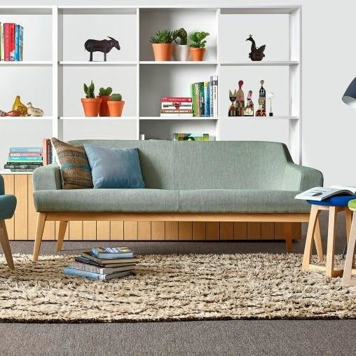 Jetty Three Seat Sofa with Light Walnut Base - TSI Workspace