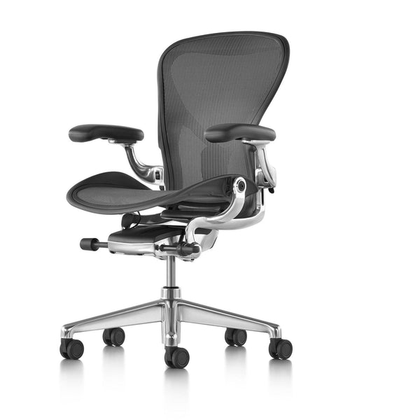 Aeron Chair in Graphite with Polished Aluminium Base and PostureFit SL - TSI Workspace