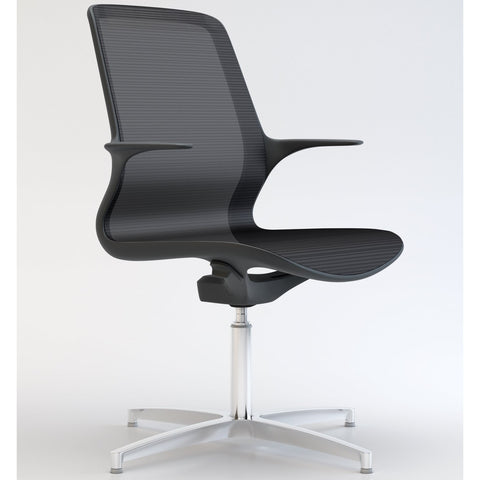 Tempo Visitors Chair in Black with Polished Aluminium 4 Star Base - TSI Workspace