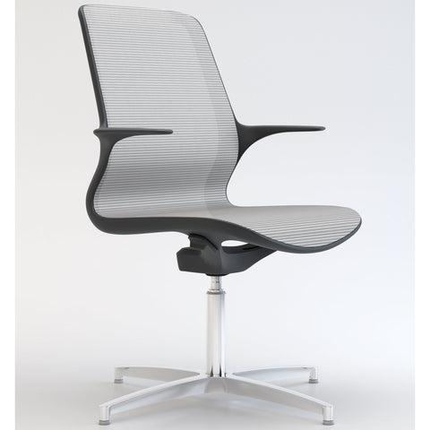 Tempo Visitors Chair with Black Frame and White Mesh with Polished Aluminium 4 Star Base - TSI Workspace