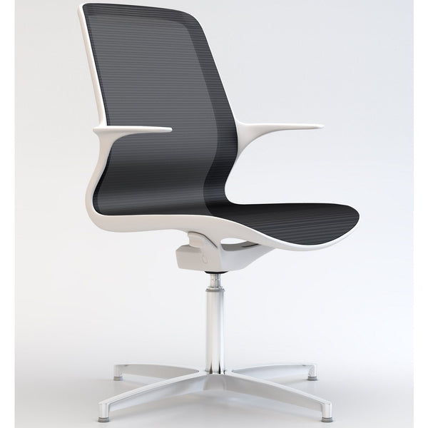 Tempo Visitors Chair with White Frame and Black Mesh with Polished Aluminium 4 Star Base - TSI Workspace