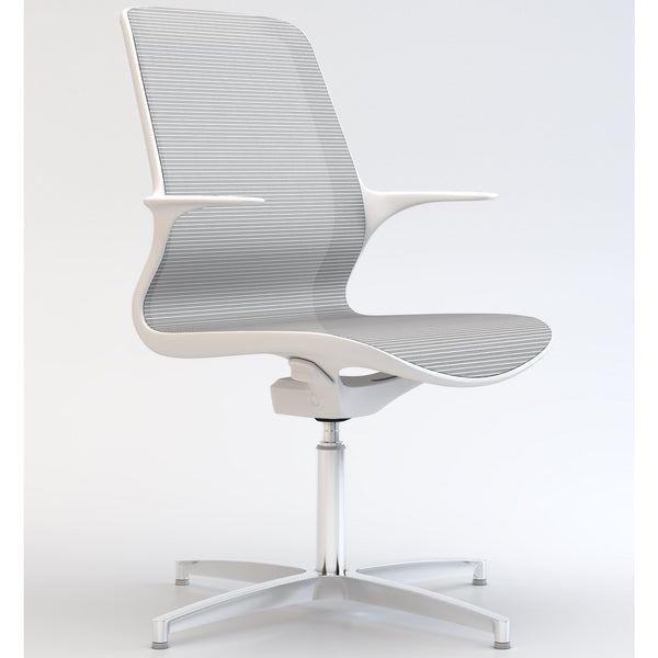 Tempo Visitors Chair in White with Polished Aluminium 4 Star Base - TSI Workspace