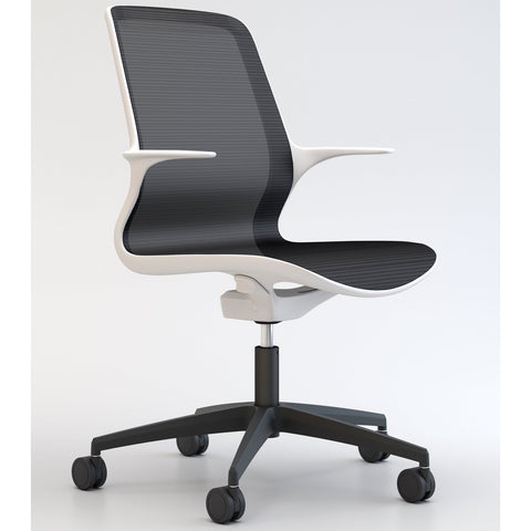 Tempo Chair with White Frame and Black Mesh and Base - TSI Workspace