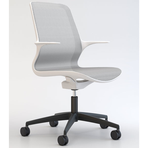 Tempo Chair with White Frame and Mesh with Black Base - TSI Workspace