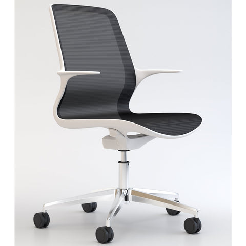 Tempo Chair with White Frame and Black Mesh with Polished Base - TSI Workspace