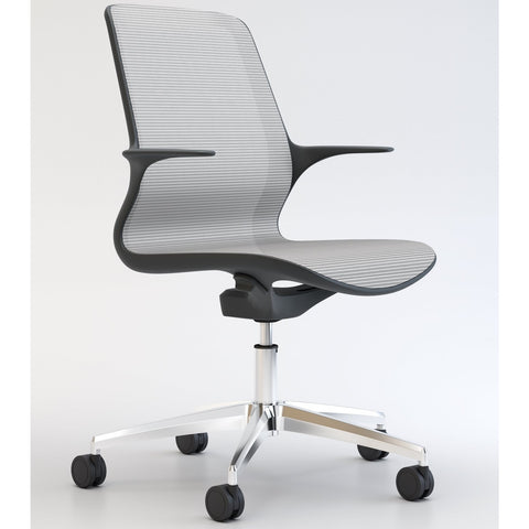 Tempo Chair with Black Frame and White Mesh with Polished Base - TSI Workspace