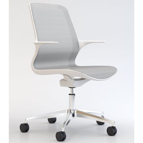 Tempo Chair with White Frame and Mesh with Polished Base - TSI Workspace