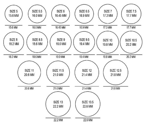 Ring Size Chart Life Energy Crystals