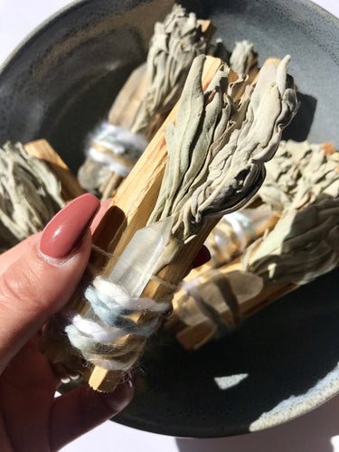 Palo Santo, White Sage & Quartz Bundle