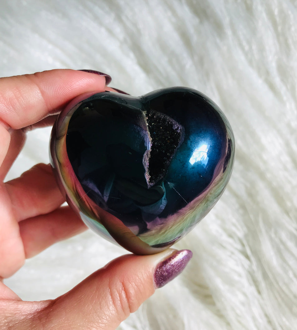 Small Rainbow Titanium Coated Agate Heart