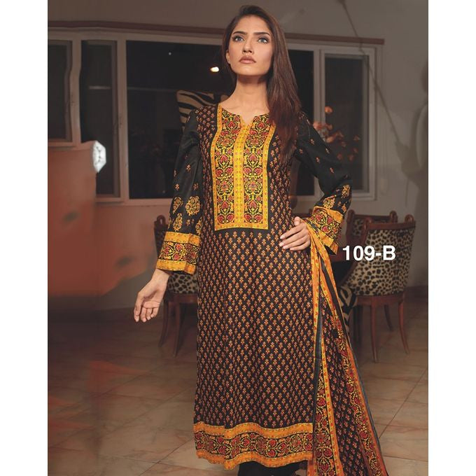 722f3bb518 Moon Textile Sohni Lawn Un-stitched 3 Piece Printed Lawn Suit - Brown