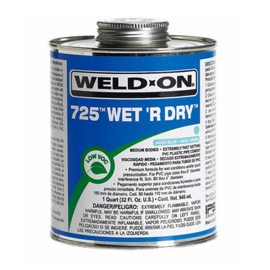 Weld-On - 10165 - 725 Wet 'R Dry Cement, AQUA BLUE, 1-Quart