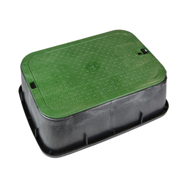 "NDS - 119TBC - Standard 13""x20""x6"" Box and Overlapping Lid, Green Lid/Black Body"