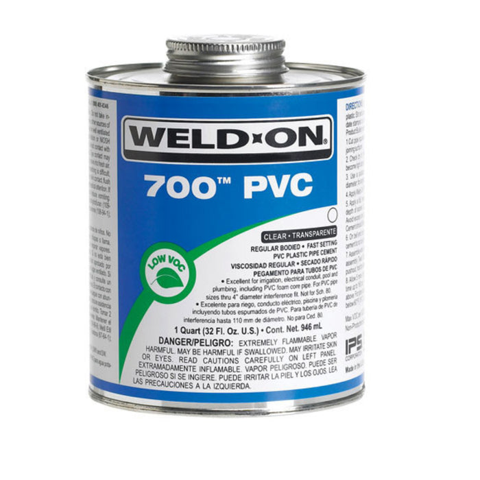 Weld-On - 10079 - 700 PVC Cement, CLEAR, 1-Quart