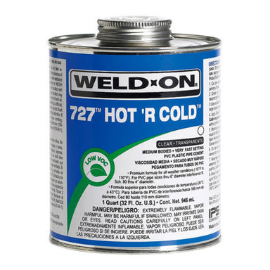 Weld-On - 10840 - 727 All Weather Hot R' Cold Cement, CLEAR, 1-Gallon