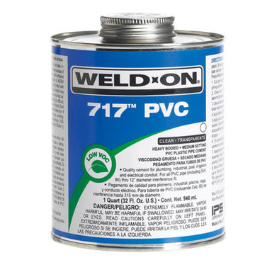 Weld-On - 10144 - 717 PVC Cement, CLEAR, 1-Quart