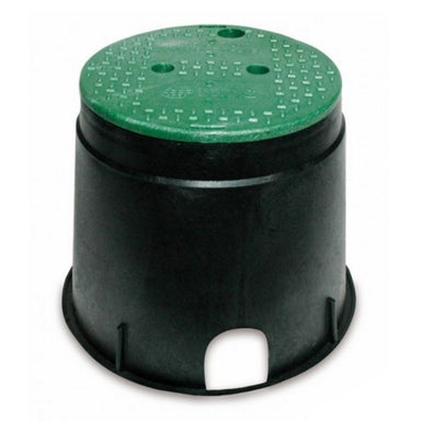 "NDS - 111BC - Standard 10"" Round Valve Box, with Overlapping Lid, Black Body & Green Lid"