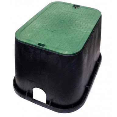 "NDS - 113BC - Standard 14""x19""x12"" Valve Box, with Overlapping Lid, Black Body & Green Lid"