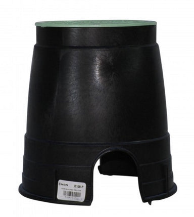 "NDS - D109-G - Standard 6"" Round Valve Box, with Overlapping Lid, Black Body & Green Lid"