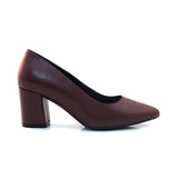 maroon block heel leather shoe