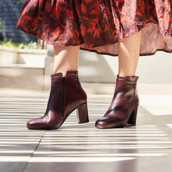 maroon leather ankle boot