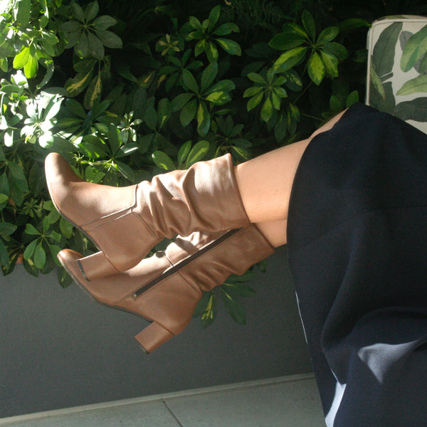 brown leather ruched boot