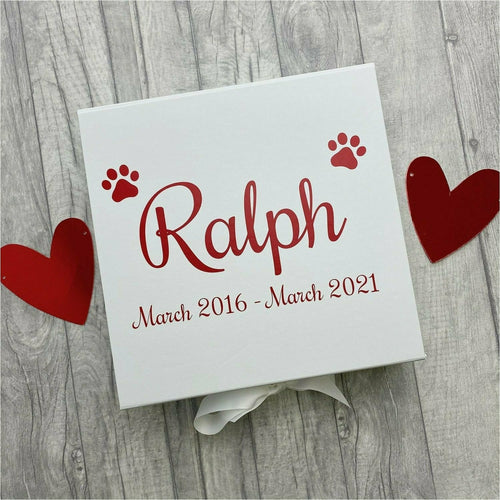 Personalised Pet / Dog Paw Memories Keepsake Ribbon Box