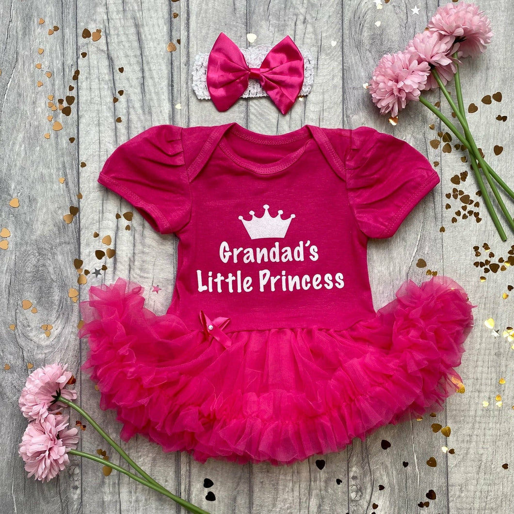 'Grandad's Little Princess' Crown Baby Girl Tutu Romper With Matching Bow Headband