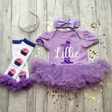 Personalised 1st Birthday Baby Girl Birthday Tutu Romper With Matching Bow Headband and Cupcake Leg Warmers