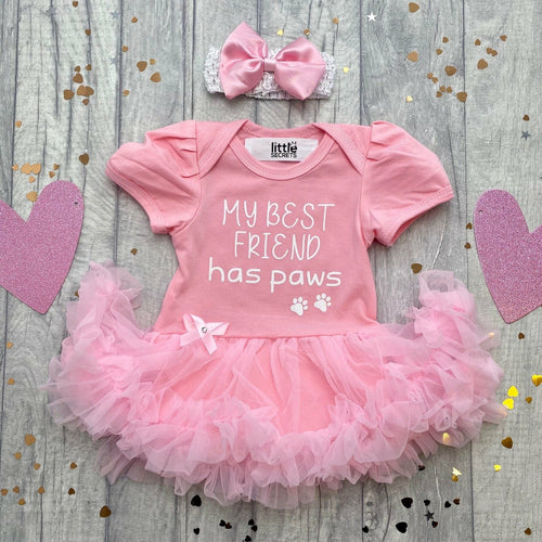 'My Best Friend Has Paws' Baby Girl Tutu Romper With Matching Bow Headband, White Glitter Design
