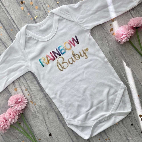 'Rainbow Baby' Gold & White Long Sleeved Romper