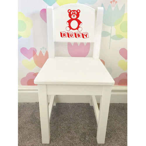 Personalised Baby Girl or Boy Bear Design white toddler wooden nursery dining chair