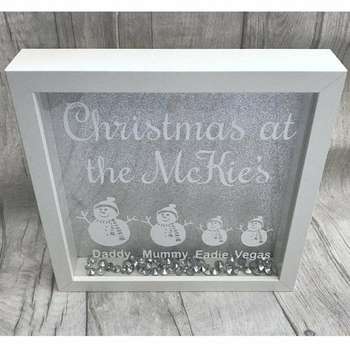 Christmas at the..... Sparkly Personalised Box Frame with Family member names.