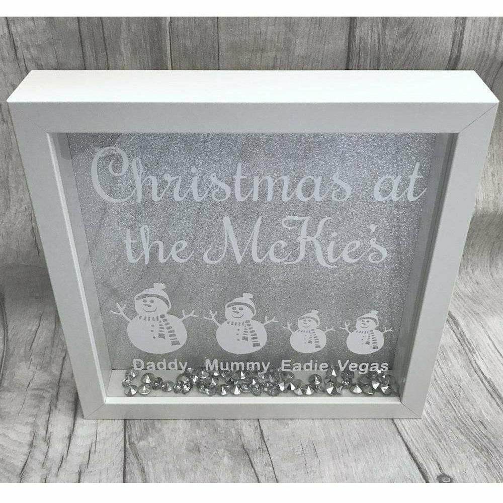 Christmas at the..... Sparkly Personalised Box Frame with Family membe