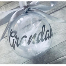 Grandad Christmas Personalised Bauble filled with white feathers