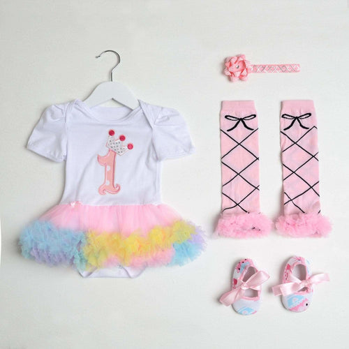 Baby Girl's First birthday Outfit Set, Pastel Tutu Romper, Headband, Leg Warmers and Shoes