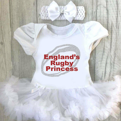 'England's Rugby Princess' Six Nations Rugby Baby Girl Tutu Romper With Matching Bow Headband
