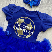 'Rangers Cutest Fan' Football Personalised Baby Girl Tutu Romper With Matching Bow Headband