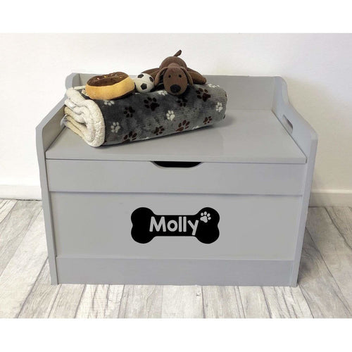 Personalised Dog / Pet Bone Design Toy Box Grey Wood