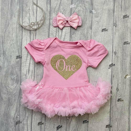 'One' 1st Birthday Baby Girl Tutu Romper With Matching Bow Headband, Gold Glitter Heart