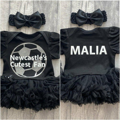 Personalised Baby Girl's Football Newcastle's Cutest Fan Name on back Black tutu romper with bow headband