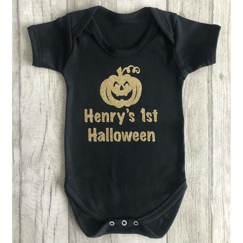 Personalised 1st Halloween Pumpkin Baby Boy's Black Romper. little secrets clothing makes the cutest tutu romper with matching headband. personalised specifically for halloween. it makes the perfect halloween outfit for your baby girl. Buy from little secrets clothing to make sure you're getting affordable, money savings outfits but of the highest quality alike high end designers such as YSL, jimmy Choo, Versace, Burberry, Valentino, Yves saint Laurent, Jimmy Choo