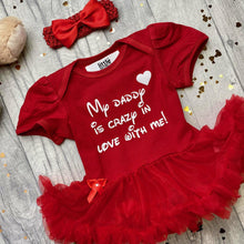'My Daddy Is Crazy In Love With Me' Baby Girl Tutu Romper With Matching Headband, White Glitter Design